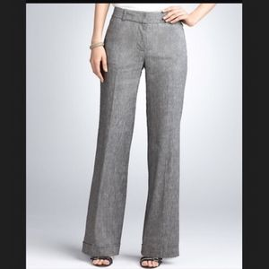 Ann Taylor Gray Wide Leg Wool Cuffed Pants